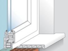 Монтаж с пеной После очистки нижней стороны, отрезанный подоконник, с соблюдением необходимых зазоров, устанавливается в окончательное положение и фиксируется через определенные промежутки (подпирается с помощью реек к оконной перемычке). После этого щель заполняется пеной. Она должна наноситься на оба торца и в средней части на расстоянии максимум 300 мм. от общей глубины стены. Монтажные приспособления должны удаляться только после окончательного затвердевания пены, в соответствии с указаниями производителя пены.