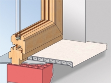Монтаж с клеем или силиконом Клей или силиконовый герметик можно применять для крепления подоконников только к гладким поверхностям (например к старым подоконникам, бетонной перемычке и т.д.). После окончательной нарезки и подгонки подоконника, а также очистке склеиваемых поверхностей, клей или силиконовый герметик наносятся на плоскости. Подоконник фиксируется, когда он установлен в окончательном положении.